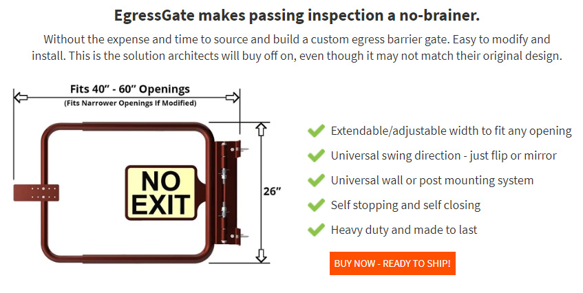 EgressGate.com - Extendable Self Closing Egress Barrier Stair Interruption Gate - Model 100